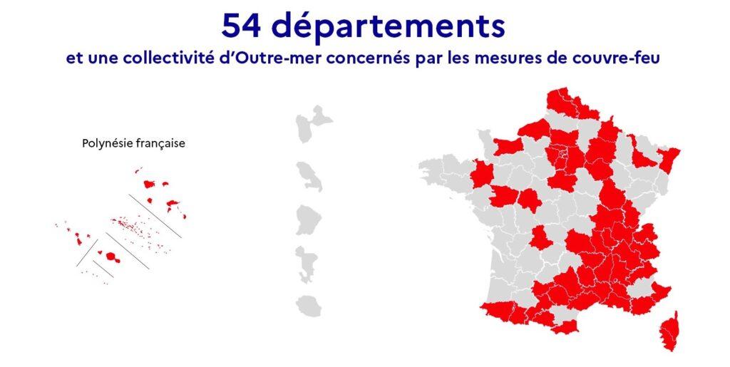 Carte couvre feu 54 départements